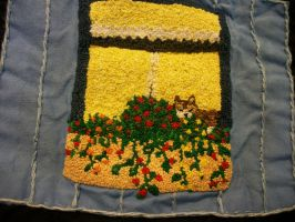 Personal Quilt Cat in a Window Patch by grandmoonma