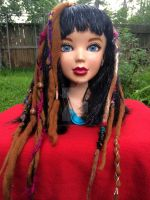 6 Long Wool and Sari Silk Accent Dreads and Fringe by ValkyrieOfODIN