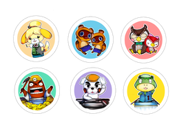 Animal Crossing buttons by EvilLilMonk