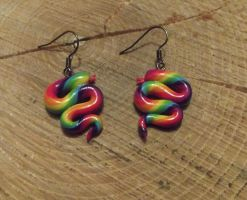 Rainbow snake earrings by MeticulousBlue