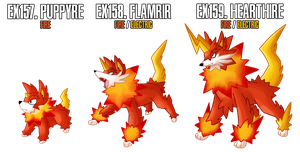 Fakemon: EX157-EX159 Alternate Fire starters 2 by MTC-Studio