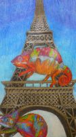 Eiffel Tower Chameleons by ville2me