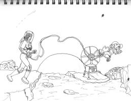 Walking on the Moon WIP (inked) by dhbraley