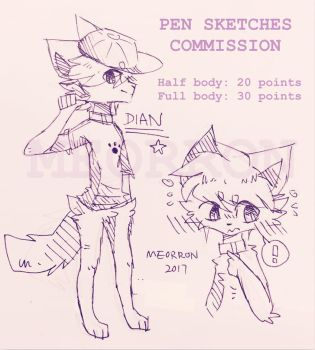 Pen sketches commissions OPEN by Meorron