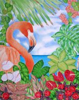 Tropical Flamingo by joeyartist
