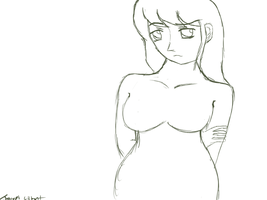 Green Lineart Rough Draft Of A Sad Anime Girl by gtstyling32