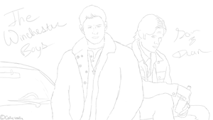 Sam and Dean Sketch by Cally-wally