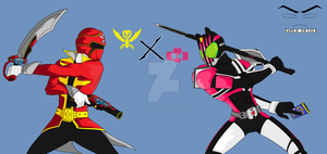 Gokai Red VS Kamen Rider Decade! by RamenDriver