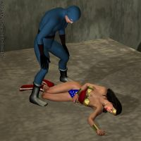 Wonder Woman KOed by the Blue Wrangler, Pic 2 by gytalf2000