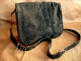 Black elegant messenger bag with delicate fur by izasartshop