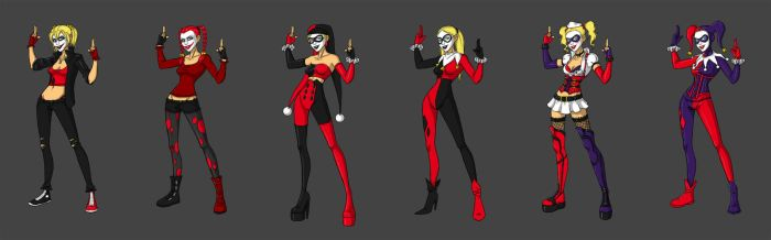 Outfit line-up - Harley Quinn by Sarniel