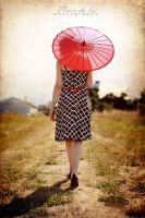 Vintage Red Parasol by FDLphoto