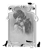 Vintage ~Young Lady with her cat~ by Scatharis