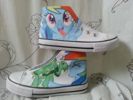 rainbow dash canvas shoes by LightningChaser