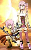 Lightning And Serah Fanart by xNamii