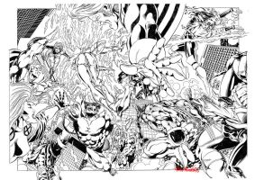 X-MEN Vs. ULTRAFORCE pencils double splash page by PinoRinaldi
