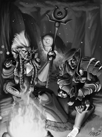 Camping in Ashenvale Greyscale by AutumnalDaydreams