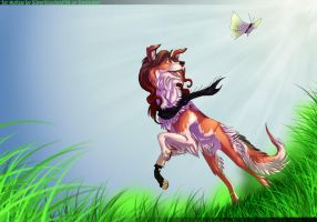 Nicky wants to catch butterfly by Silverbloodwolf98