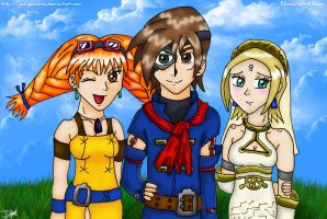 Skies of Arcadia - Vyse, Aika + Fina by Jedgesaurus