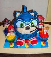 Sonic Hedgehog Cake by ToughSpirit