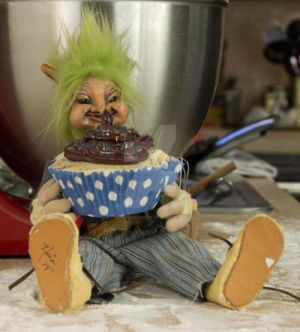 Fenwick the baking goblin art doll with cupcake by The-GoblinQueen