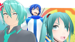 Bad Mikuo, poor Miku and angry daddy Kaito :DD by Hitomi-Kin