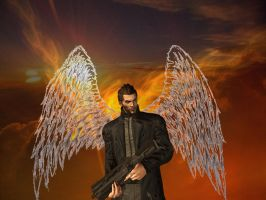 Adam Jensen Phoenix with different background by KeeperNovaIce