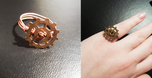 Steampunk Gear Ring by Zinantis