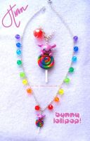 Rainbow Swirl Bunny Necklace by xlilbabydragonx