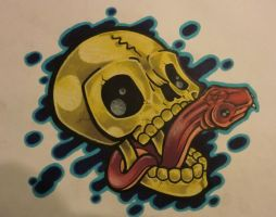 skull slipping snake tongue by T-K-Ink