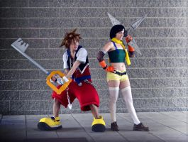 Sora and Yuffie, the Traverse Town Team by Faxen