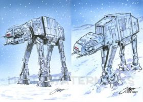 Star Wars AT-AT Walker cards by SteveStanleyArt