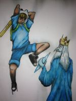 Anime Finn and The Ice King by SabastionLover