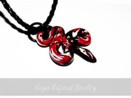 Black White and Red Snake Pendant by Toxic-Muffins-Studio