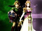 Princess Zelda and Link by Miharichu-Emi