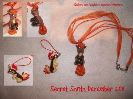 Quilava charm and Vulpix necklace by Sasophie
