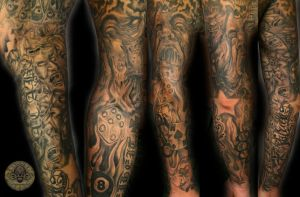scream faces demon cover tat by 2Face-Tattoo