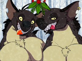 2016 Hyena Christmas_colored and in progress by wsache2020