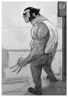 Wolverine waiting for the bus by fifoux