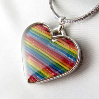 Domed Rainbow Heart Necklace by Techcycle