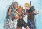 Dissidia Firion, Cloud and Tidus by AurelGweillys