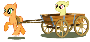 Giving your sister a ride in a cart, MLP base by LoveRayz