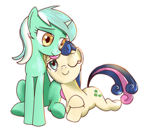 Lyra and Bonbon by GashibokA