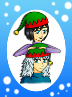 Christmas Card: Riku+Xion Elves by Lavender-Star