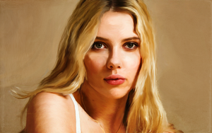 Scarlett Johansson Oil Painting Portrait Wallpaper by WhrAreMyDragons