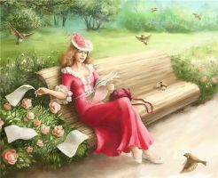 On the garden bench by S-o-l-l-a