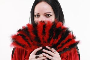 gothic woman black red fan stock by Eve-VelvetRose