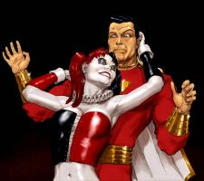 TLIID - Harley Quinn and Captain Marvel (Shazam) by Nick-Perks