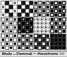 Blocks and Diamonds-Monochrome Set by allison731