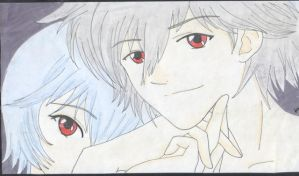 Rei and Kaworu by Ivy-Mauve